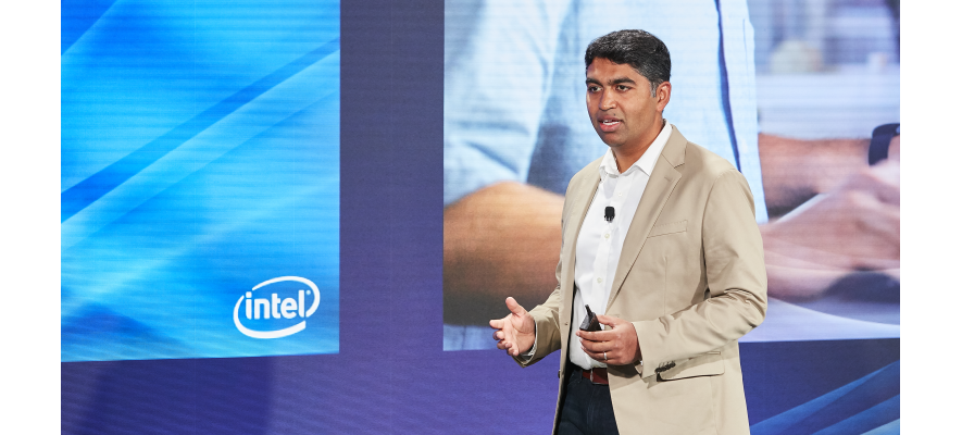 Anand Srivatsa, vice president and general manager for desktop, systems, and channel within Intel's Client Computing Group, delivering a keynote address at Intel's launch event on Monday. (Source: Intel)