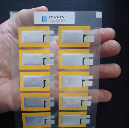 Imprint Energy showed batteries of various sizes on various substrates.