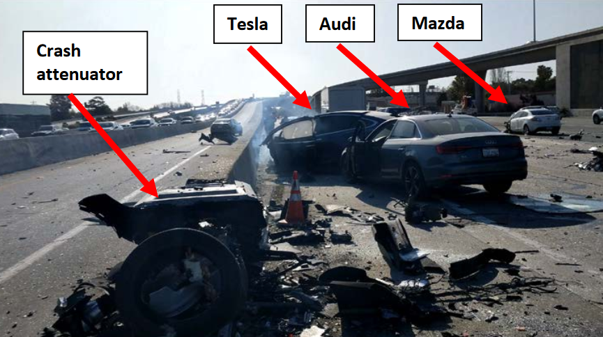 Southbound view of US-101 depicting Tesla, Audi, and Mazda vehicles at final rest. (Source: S. Engleman)