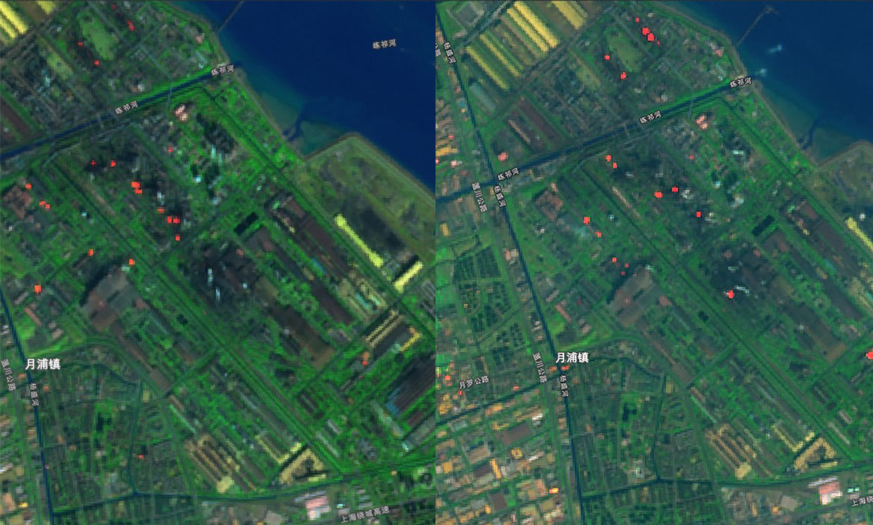 Figure 3: Side by side satellite images from December 30, 2019 (left) and January 29th, 2020, show that steel industry activity is still down in China [Source: spectrum.ieee.org].
