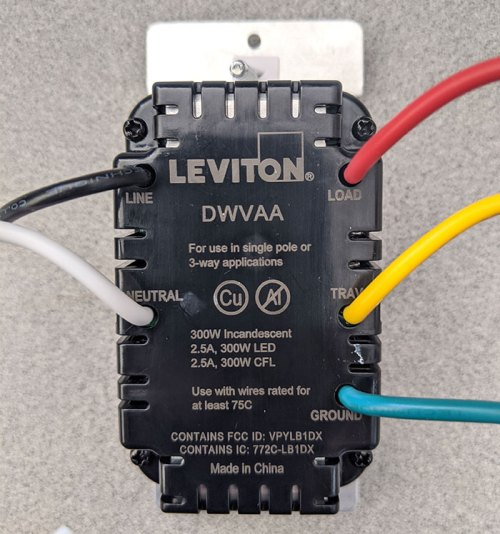 Leviton Smart Voice Dimmer back exposed