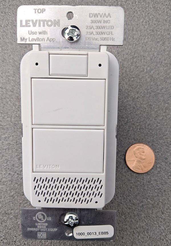 Leviton Smart Voice Dimmer with a penny for comparison
